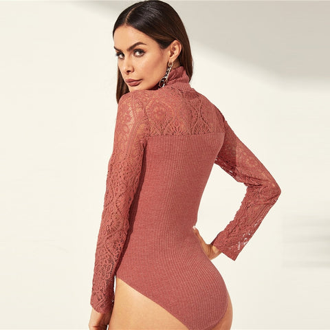 Casual High Neck Lace Rib Knit Pink Women Romper