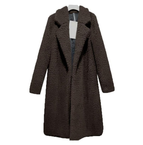 Winter Faux Fur Long Sleeve Turn-down Collar Women Long Cardigan Coat
