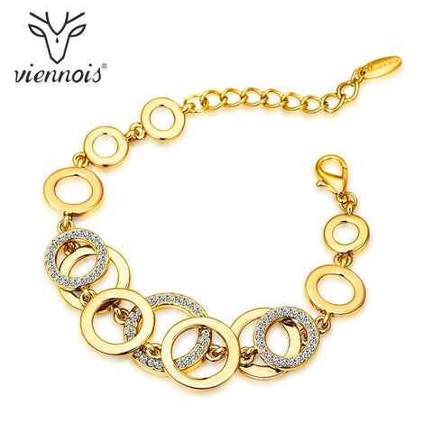 Circles Rhinestones Paved Double Layer Bracelet & Bangles
