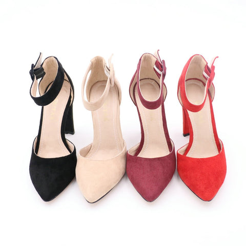 Square High Heel Pointed Toe Ankle Strap Party Wear Sandals
