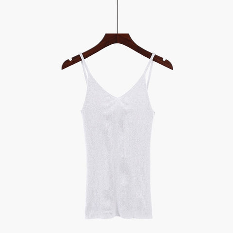 Spring Knitted Solid V-Neck Sleeveless Casual Crop Top