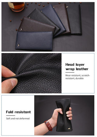 Long Slim Luxury Design Men's Leather Wallet