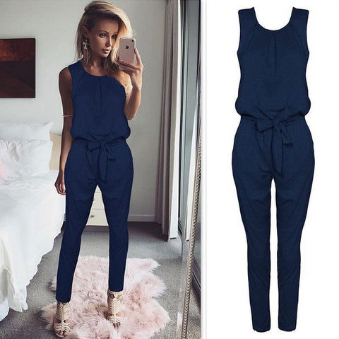 Latest Long Coveralls Sleeveless Bow Romper Jumpsuit