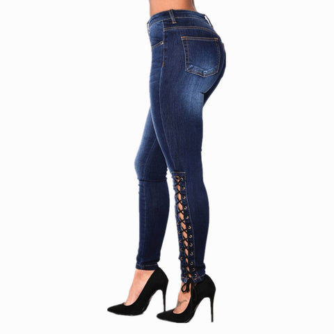 Lace Up Stretchable Skinny Jeans Plus Size for Women