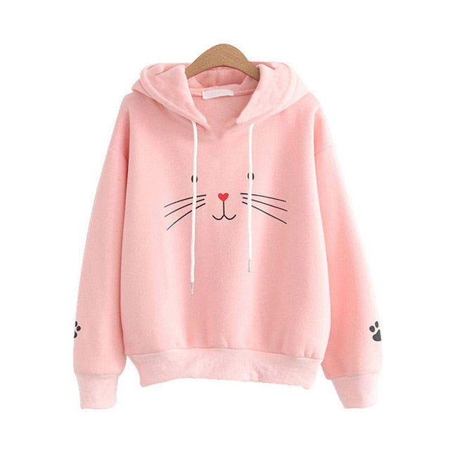 Harajuku Cat Lovers Pullovers Hoodies Sweatshirt for Women