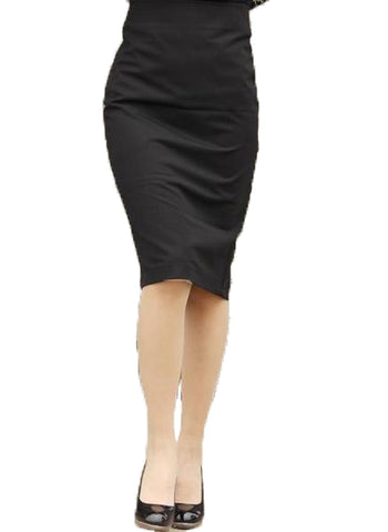 High Waist Pencil Wrap  Split  Knee Length Plus Size Women's Skirt