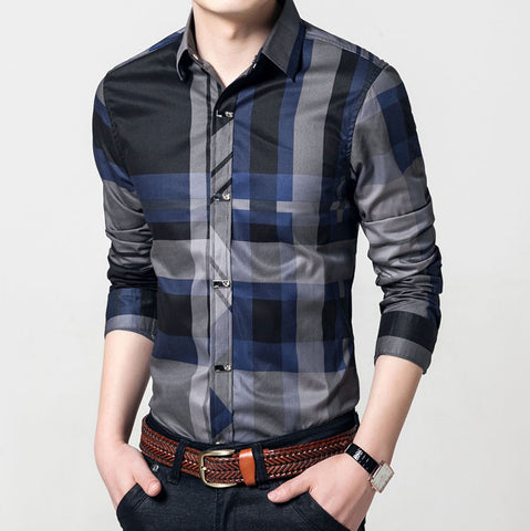Casual Long Sleeve Striped Slim Fit Cotton Shirt