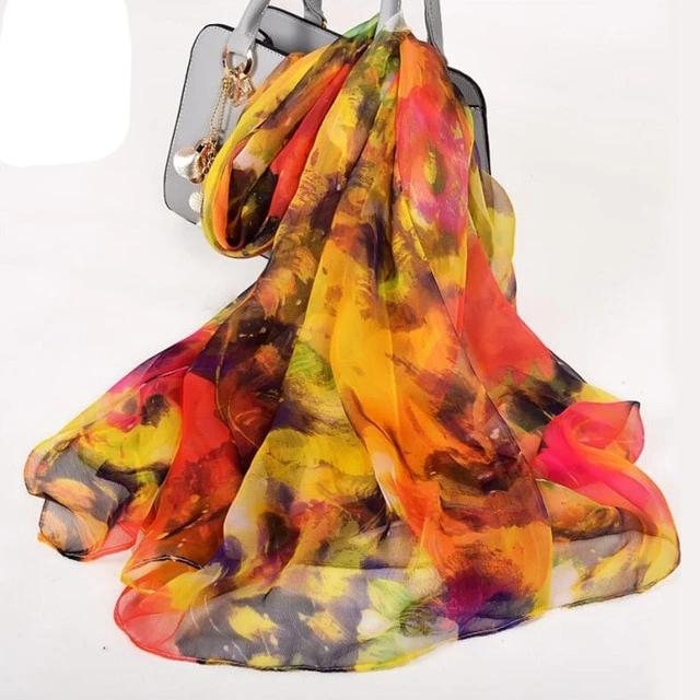 Winter Ginkgo Leaf Long Silk Scarf Scarves