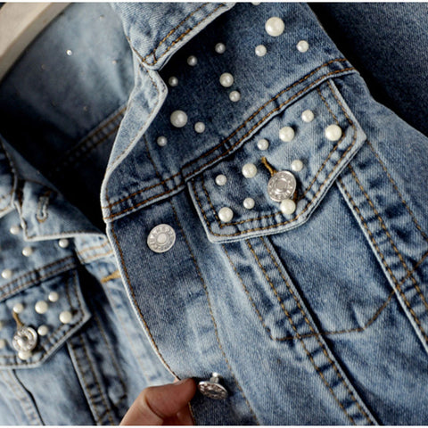 Vintage Plus Size Pearl Beading Short Women's Denim Jackets