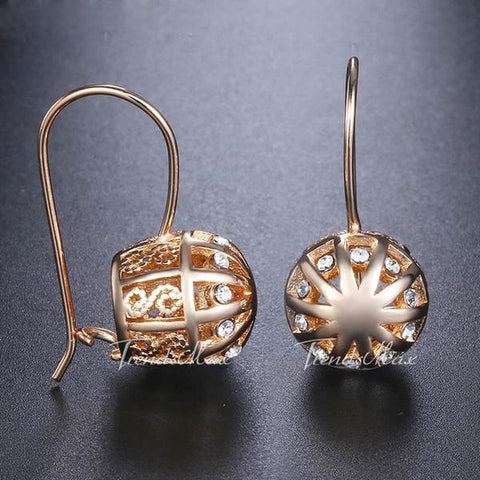 Cut Out Ball Rose Gold Zircon Dangle Earrings