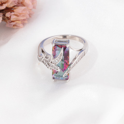 Large Square Rainbow Mystic Stone Silver Plated Bohemian Cocktail Ring