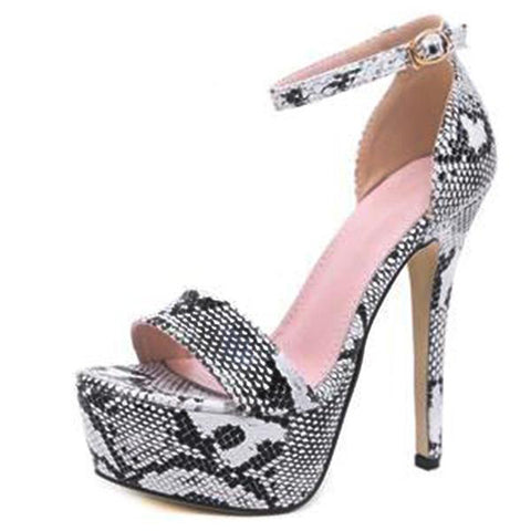 Serpentine Pattern Thin High Heels Ankle Strap Open Toe Party Wear Sandal