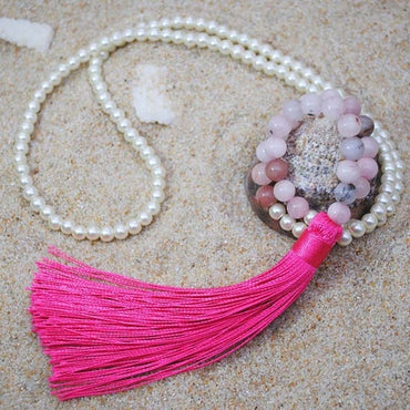 Women Natural Stone Crystal Long Beaded Tassel Necklace Pendants