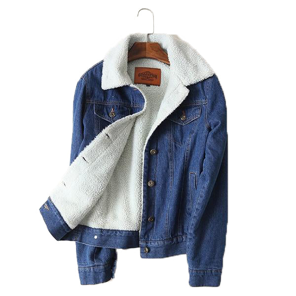 Long Sleeve Turn Down Collar Woolen Denim Jacket