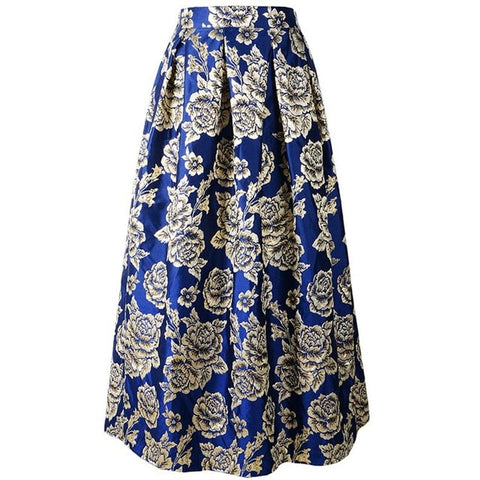 Floral  Embroidery Pattern High Waist Long Maxi Skirt