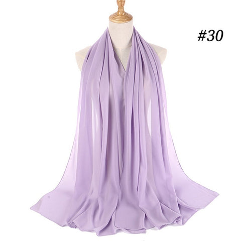 Women Plain Chiffon Hijab Wrap 175cm Headband Scarf Scarves