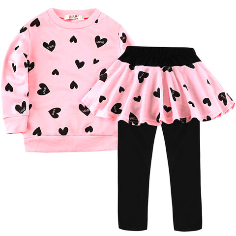 Casual Warm Comfortable Girl's T-Shirt & Skirted Leggings Set