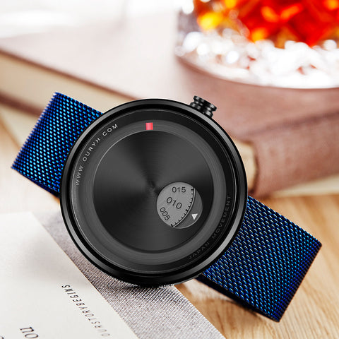 Casual Creative Mesh Strap Band Rotation Dial Wristwatch