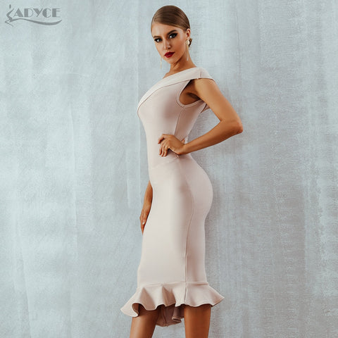 One-Shoulder Sleeveless Ruffles Nightclub Evening Party Dress
