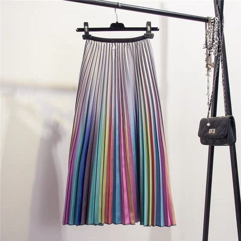 Rainbow Striped A-Line Mid-Calf Long Skirts