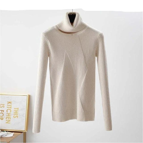 Casual Long Sleeve Turtleneck Winter Women Slim Ribbed Pullover Sweater