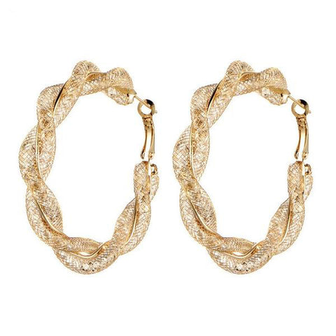 Geometric Round Twisted Hoop Earrings