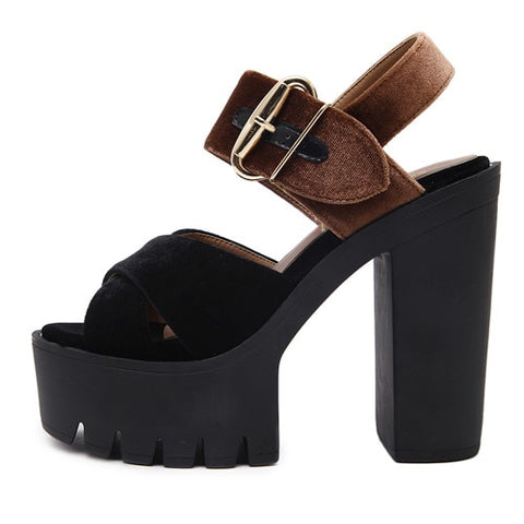 Summer Flock Fashion Buckle High Heeled Women Sandals