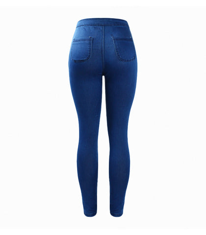 Blue High Waist Skinny Denim Pants Jeans