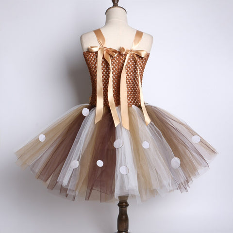 Brown Tutu Christmas Deer Costume Party Dress