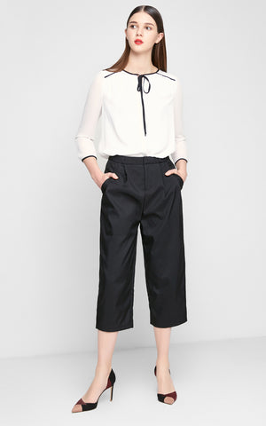 Regular Dark Color Quarter Pleated Simple Harem Pants