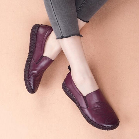 Casual Genuine Leather Handmade Soft Comfortable Flats Loafers