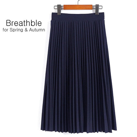 High Waist Pleated Solid Color Half Length Elastic Skirt