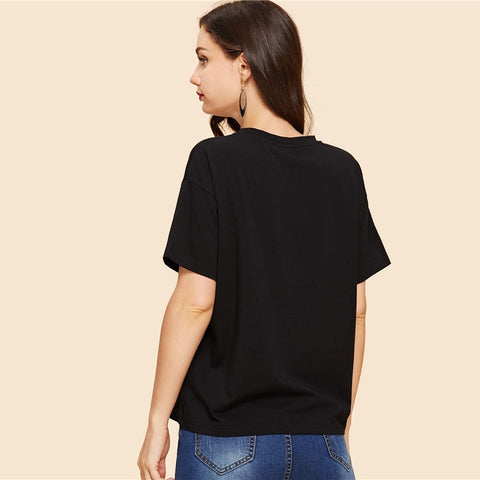 Black Round Neck Graphic Print Summer Short Sleeve T Shirt