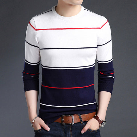 Casual Striped Slim Fit Jumpers Knitted Woolen Pullover