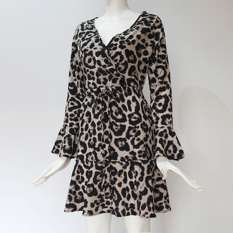 Leopard Print Deep V Neck Long Flare Sleeve Party Dress