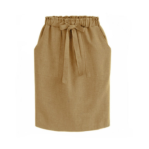 Elegant Office Pencil Cotton Elastic Waist Package Hip Bow Skirt