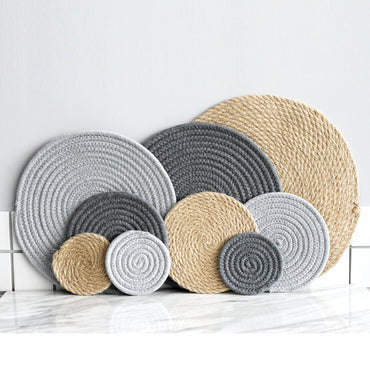 Linen Cotton Knitting Kitchen Table Bowl Mats