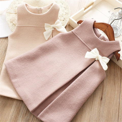 Casual Solid Warm Sleeveless Princess Dress for Girls