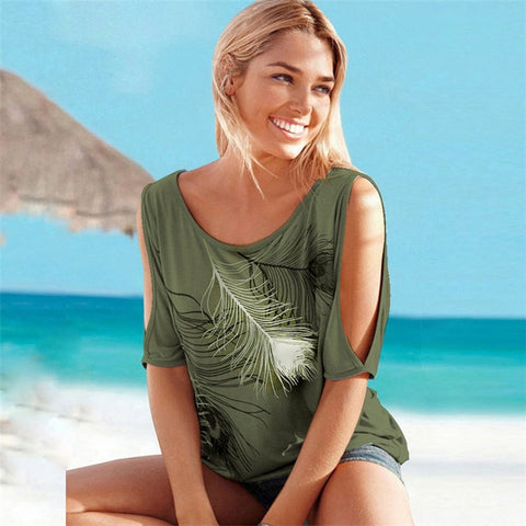 Basic Feather Print Plus Size Off Shoulder T Shirt Tops
