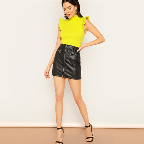 Solid Yellow Color Mock Neck Ruffle Armhole Rib Knit Slim Fit Top