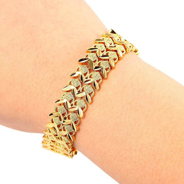 Gold Multi Shape Hidden-Safety-Clasp Unisex Punk Bracelet