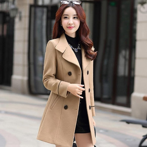 Casual Long Sleeve Notched Collar Double Breasted Women Slim Fit Coat
