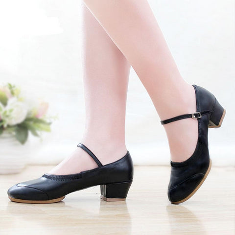 Casual Leather Square Pointed Women's Dancing Shoes
