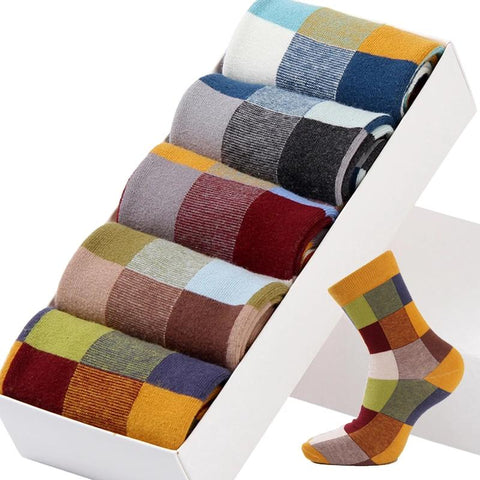 Combed Cotton Colorful Square Men's 5 Pairs/Lot Socks