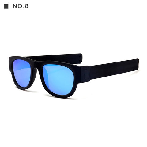 Round Polarized Acetate Frame Outdoor Fold Anti-Reflective Unisex Sunglasses