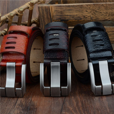 Casual Genuine Leather Pin Alloy Buckle 100-130cm Men Belts