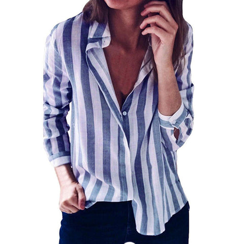 Casual Striped Turn Down Collar Long Sleeve Tunic Top Shirt