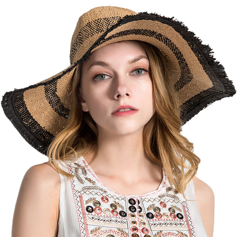Large Wide Brim Bow Straw Sun Beach Hats