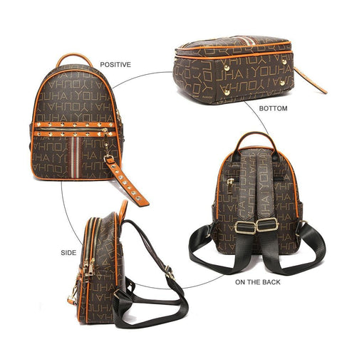 New Rivet Zipper PU Leather Laptop Backpacks for Teenagers