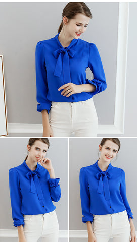 Large Size Casual Long Sleeve  Beautiful Bow Shirt